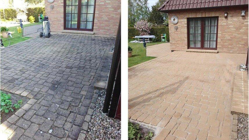 dach und stein vor und nach der steinreinigung