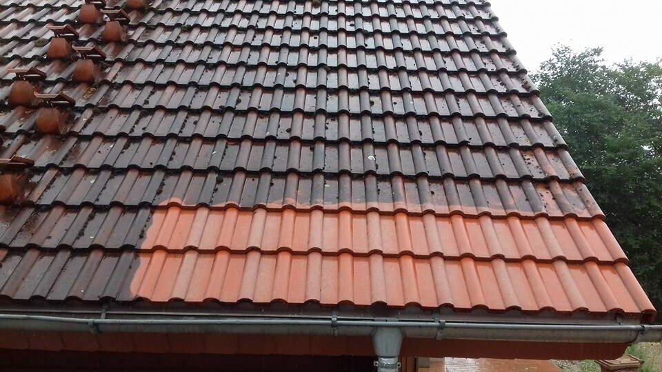 probefläche zum dach reinigen von der firma dach und stein