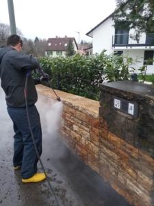 steinmauer wasserhochdruckreinigung von saro