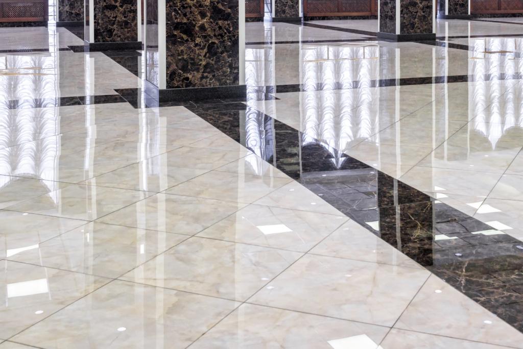 Steinboden mit Schmierseife behandelt